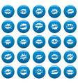 comic bubble sound icons set blue simple vector image