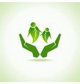 eco-friendly couple under hand concept vector image
