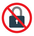 no lock sign on white background vector image