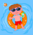 relaxed child in water vector image