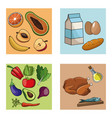 collection many food healthy vector image