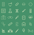 pharmacy line color icons on green background vector image