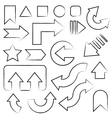 Hand drawn sketch arrows set vector image