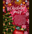 christmas party banner with xmas tree and gift vector image