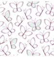Outline seamless pattern with butterflies vector image