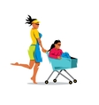 Racing on the shopping trolley Cartoon vector image