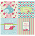 Set of Colorful Cards with Rose Elements vector image