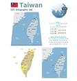 Taiwan maps with markers vector image