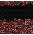 Lace fabric seamless border with abstract flowers vector image
