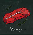 Hanger steak cut isolated on chalkboard vector image
