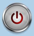 Realistic steel metal power button web design vector image vector image