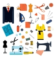 Sewing or tailoring flat icons and items vector image vector image