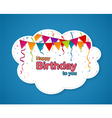 Birthday party design with cloud shape vector image