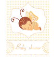 Baby shower card with butterfly girl sleeping vector image