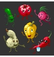 Cartoon Vegetables Characters Set vector image