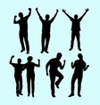 happy and health people action silhouette vector image