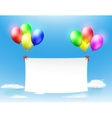 white banner hanging on the colored balls vector image