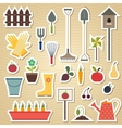 Garden and gardening tools icon set on a light vector image vector image