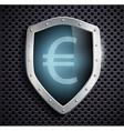 metal shield with the image of euro vector image vector image