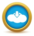Gold download cloud icon vector image