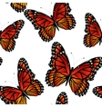 Seamless pattern with bright monarch butterflies vector image