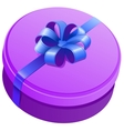 Violet round gift box with ribbon and bow vector image vector image