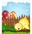 Chicken and painted eggs near a wooden fence vector image