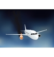 Falling damaged plane in fire vector image vector image