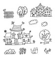 houses coloring page vector image