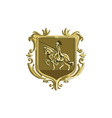 Knight Riding Steed Lance Coat of Arms Retro vector image