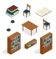 Library isometric icon set Publications storage vector image