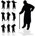 sick man black silhouette vector image