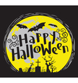 Happy Halloween lettering with cemetery and bats vector image vector image