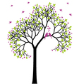 spring tree with love birds vector image vector image