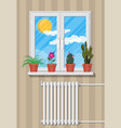 white window with flowers on wall vector image