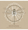 Dragonfly sketch Invitation card vector image