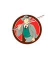 Vintage Fly Fisherman Bowler Hat Cartoon vector image vector image