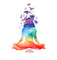 Watercolor woman silhouette of lotus yoga pose vector image