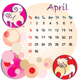2012 calendar april vector image vector image