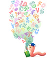 Bookworm with book of english alphabets vector image