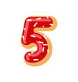 number 5 donut doughnut font five sweet alphabet vector image