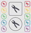 pliers icon sign Symbols on the Round and square vector image