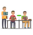 student reading textbook in library flat vector image vector image