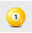billiardyellow pool ball with number 1snooker vector image