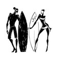 surfer silhouettes of woman and man vector image