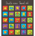 travel doodle icons vector image