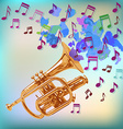 Trumpet design playing notes vector image