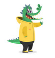 cartoon hipster crocodile in a yellow rain coat vector image