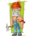 Cartoon old lumberjack in red cap vector image