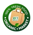 Eco Market Badge Promo Paper bags and leaves on vector image